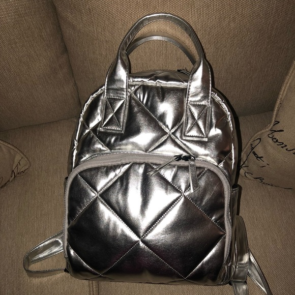 Target Mossimo Quilted Silver Backpack. M 5a9f31f79d20f0e705ad5265 44f21d93611ed